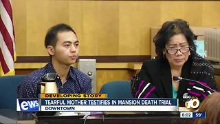 Tearful mother testifies in mansion death trial - Video