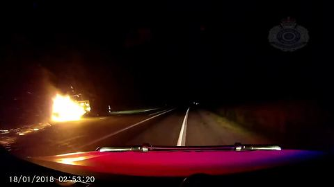 Queensland Police publish video of car driving with burning trailer