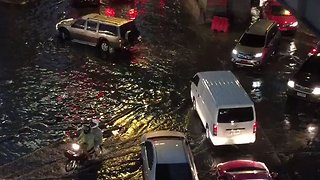 Motorists Drive Through Flooded Roads Near Bangkok After Thunderstorm - Video