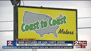 Man arrested after accused of car theft spree