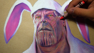 Incredible hyperrealism time lapse drawing of Thanos