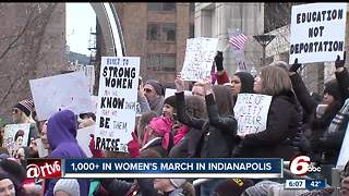Hundreds gather for Women's March and rally in downtown Indianapolis - Video