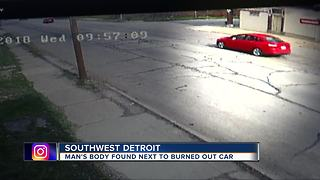 Police working to identify body in burned car on Detroit's west side - Video