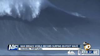 Man breaks record surfing 80-foot wave - Video