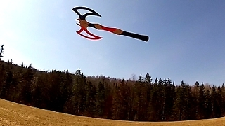 Battleaxe boomerang flies and return to owner - Video