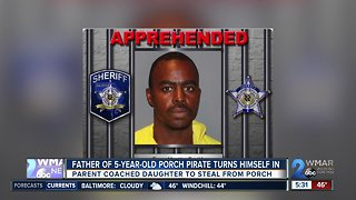 Father arrested after coaching 5-year-old porch pirate