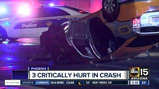 Three hurt in collision involving taxi in Phoenix - Video