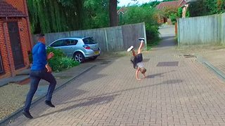 Daredevil dad and daughter duo make grand entrace to party with jaw-dropping parkour - Video