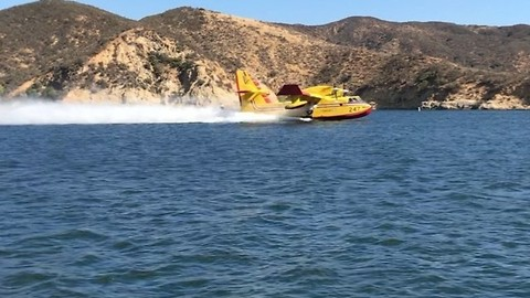 Super Scooper Aircraft Deployed to Fight Charlie Fire in Southern California