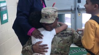 Military Dad Surprises Kids at School After Returning from 10-Month Deployment