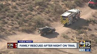 Family rescued after night on trail in New River - Video