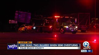 1 dead, 2 others hurt after crash involving semi