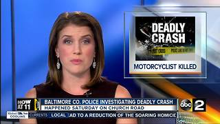 Baltimore Co. Police investigating Deadly Crash - Video