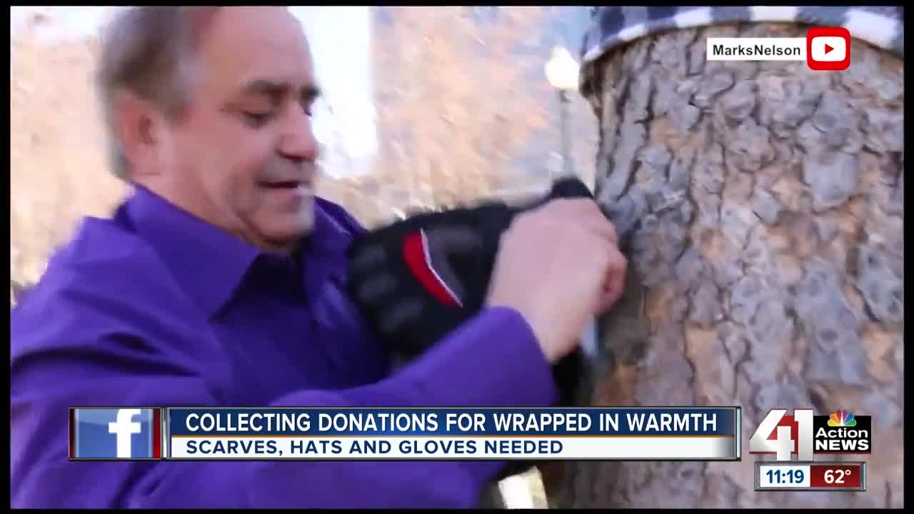 Collecting donation for wrapped in warmth
