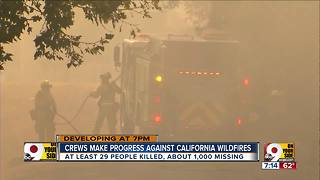 Crews make progress against California wildfires - Video