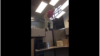 Office cubicle walk goes terribly wrong