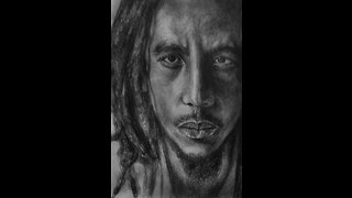 Incredible ambidextrous drawing of Bob Marley