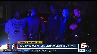 2 detained after stolen van crashes into Indianapolis house - Video