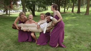Bridal party drops groom on wedding day - Video