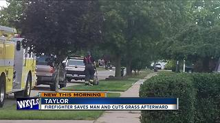Video shows metro Detroit firefighter cutting grass of man he just saved - Video