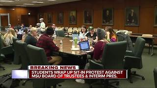 Students stage sit-in protest against MSU Board of Trustees and interim pres. - Video