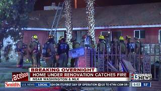 House under renovation catches fire - Video