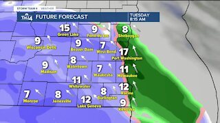 Sunshine, breezy Monday ahead, snow moves in Tuesday