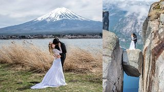 Couple travel to the world's most recognisable spots to shoot one-of-a-kind wedding photographs - Video