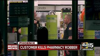 Witness shot and killed pharmacy robber during armed robbery attempt at a Phoenix Walgreens - Video