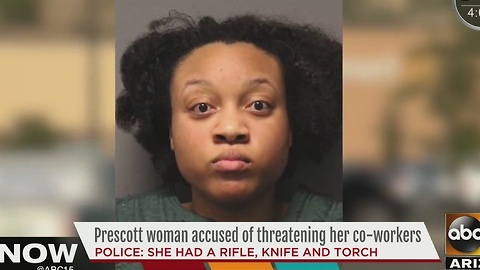 Woman arrested after threatening her co-workers in Prescott