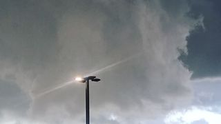 Wall Cloud Swirls Above Poughkeepsie, New York - Video