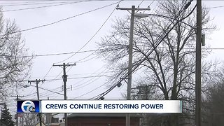 Crews continue to restore power to customers Tuesday