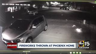 Fireworks thrown at Phoenix home caught on camera - Video