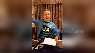 Boy gets excited over Spurs Wembley tickets - Video