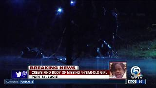 Missing Port St. Lucie girl's body found in pond - Video