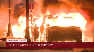 Curfew in effect for Grand Rapids after protests turn violent with cars set on fire, windows smashed overnight