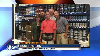 A colorful shout out from Budeke's Paint in Timonium