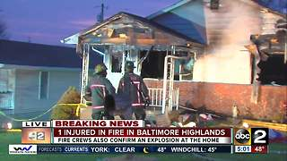 Crews responding to fire with explosion in Baltimore Highlands - Video