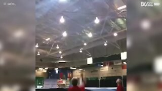 Trampolinist bounces out of competition after frightening fall