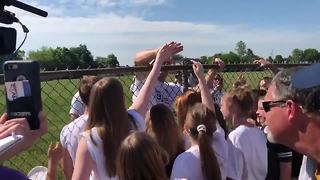 Jason Seaman meets students at baseball game