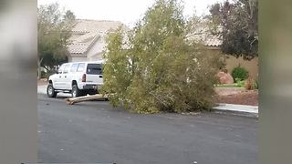 Strong winds damage homes, cars in Las Vegas neighborhood