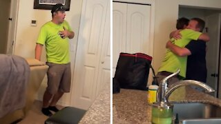 Dad's homecoming surprise totally shocks his son