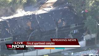 Firefighters battle two-alarm fire at town homes in Tampa - Video