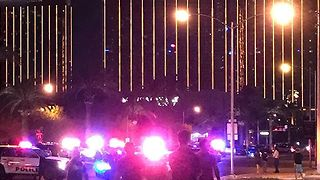 Heavy Police Presence Seen at Mandalay Hotel Following Reports of an Active Shooter - Video