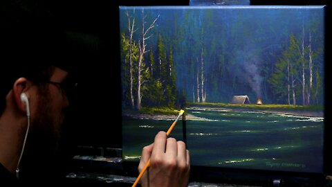 Acrylic Landscape Painting of a Forest Lake & Campfire - Time Lapse - Artist Timothy Stanford