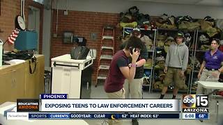 High school class exposing students to law enforcement careers - Video