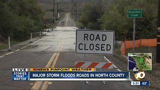 Storm floods North County roads - Video