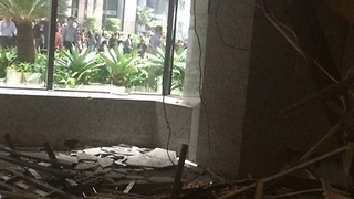 Debris Fills Indonesia Stock Exchange Lobby After Balcony Collapse - Video