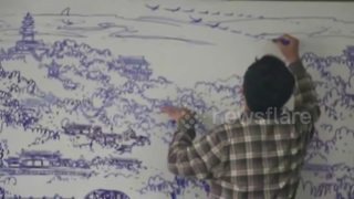 Chinese art teacher draws intricate landscape on whiteboard - Video