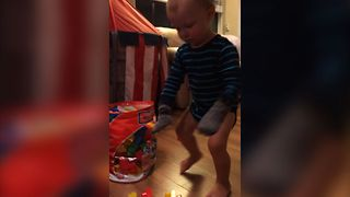 Baby Makes His Own Gloves - Video